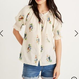 Madewell floral button front top w smocked sleeves